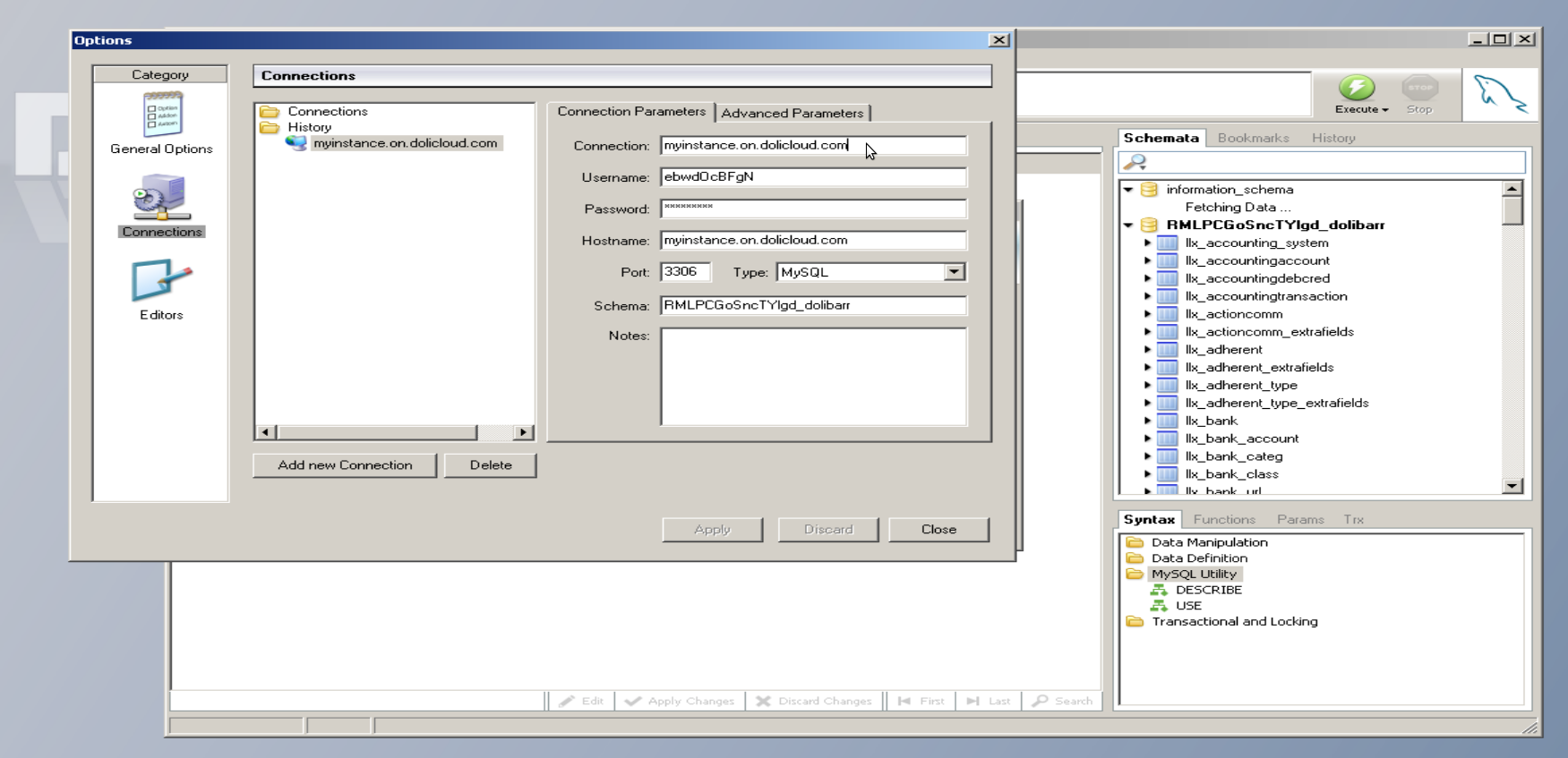 Setup of MySql or Mariadb client with DoliCloud